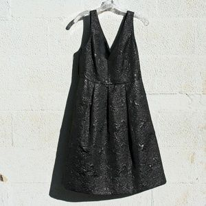 Shiny Black on Black Brocade Cocktail Dress